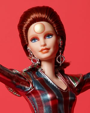 """The Ziggy Stardust Barbie is honoring the 50th anniversary of the release of David Bowie's iconic """"Space Oddity."""""""