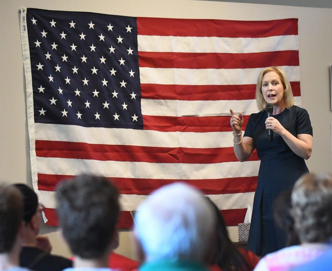 Democratic presidential candidate Sen. Kirsten Gillibrand addresses her audience during a stop Friday on her 'Trump Broken Promises Tour' at the Birmingham Unitarian Church in Bloomfield Hills. She will also make campaign stops in Lansing and Flint on Friday.