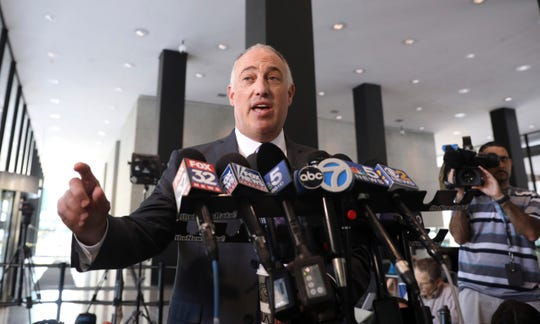 Attorney Steve Greenberg talks to reporters at the Dirksen Federal Courthouse after his client R. Kelly, appeared before U.S. Magistrate Shelia M. Finnegan, Friday, July 12, 2019, in U.S. District Court in Chicago.