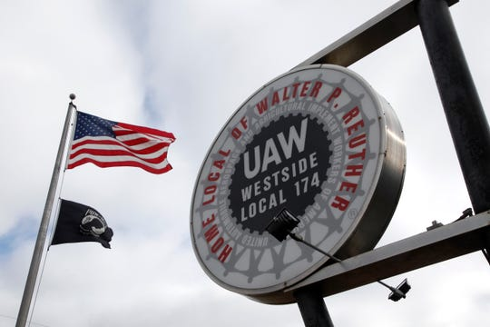 The United Auto Workers Local 174 sign is shown outside their building in Romulus.