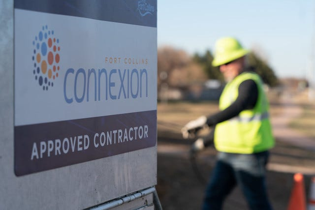 Crews are running fiber optic cable across Fort Collins in preparation for the launch of the city's broadband network, Fort Collins Connexion,