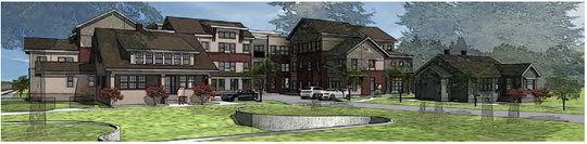 A rendering of the proposed Haven Apartments at 730 W. Prospect Road adjacent to Apex Apartments.