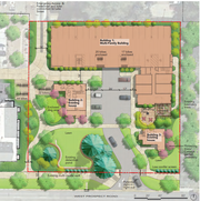 The preliminary site plan for Haven Apartments shows a large multi-family building on the northern part of the site with the existing single-family homes on the southern portion of the parcel at 730 W. Prospect Road.