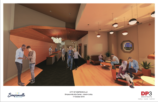 This rendering shows the interior of the Simpsonville Arts Center after planned renovations to the building are completed.