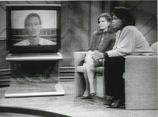 """This photo of a television screen shows an interview with Drew Mills Dobson and his former wife Marguerite Kelly on """"The Oprah Winfrey Show"""" on Oct. 29, 1992 titled titled """"People Who Have Been Married to a Dr. Jekyll and Mr. Hyde Personality."""""""