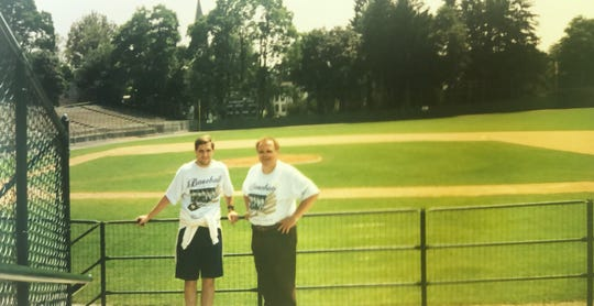 Bill Himmelberg Jr. (right) and his son, Bill Himmelberg III, visited Doubleday Field at the Baseball Hall of Fame in Cooperstown, N.Y.