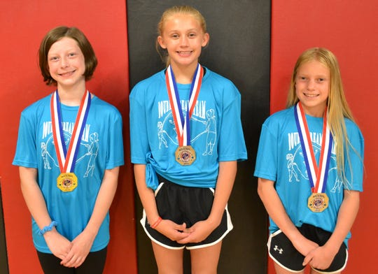 Three members of the Valley View Elementary Double Dream Team won medals at the USA Jump Rope Federation's national competition in Orlando, Fla., last month. Pictured from left to right are Brie Srb (Gold Medal, Female Single Rope Freestyle), Ashlyn Jarrett and Janica Clark (Silver Medal, Female Single Rope Freestyle Pairs).