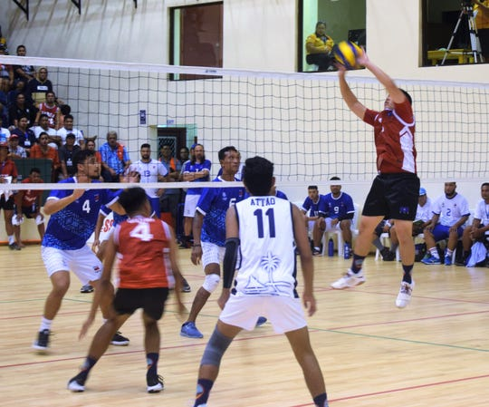 Guam setter Rai Santos was all over the court with Guam's errant passing July 11 at the Pacific Games in Samoa.