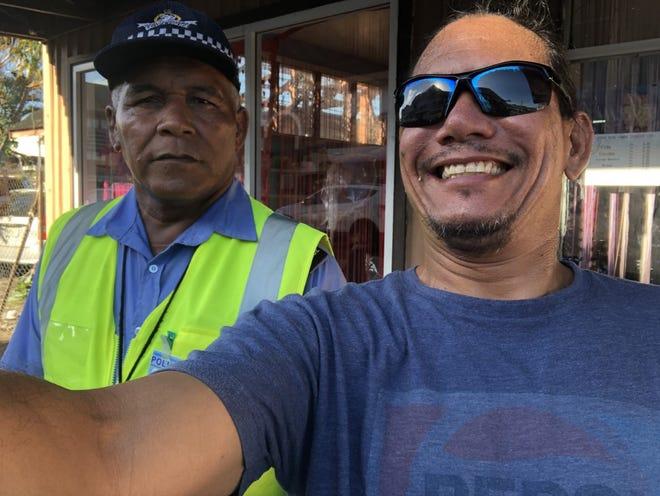 PDN reporter Jojo Santo Tomas making a friend in Samoa.