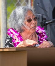 """War survivor Maria Cruz Quitugua recounts being a young girl and sighting her first U.S. Marine, after being told by her mother to go out and search for mangoes during the liberation of Guam in World War II, as she spoke at the unveiling ceremony for the Mangilao Memorial monument on Friday, July 12, 2019. """"I was so shock, very happy and I thanked God and the military people that they came to Manengon and saved us,"""" said Quitugua."""