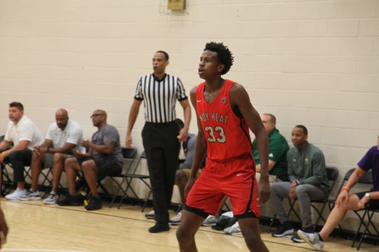 Class of 220 post Kiyron Powell plays with Indy Heat during the 2019 Nike Peach Jam.