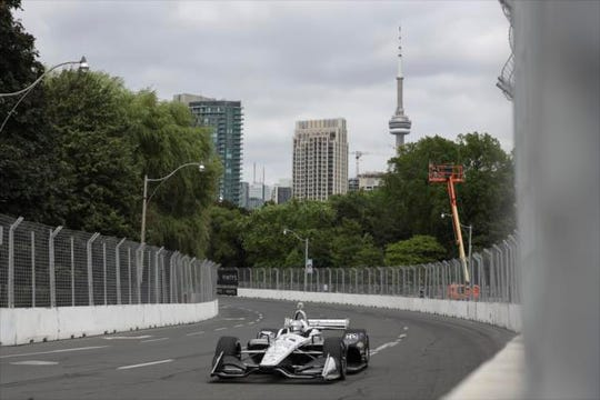 Team Penske star Simon Pagenaud turned the quickest lap of IndyCar's two practice sessions Friday on the streets of Toronto.
