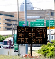 IDOT traffic signs alert drivers to upcoming construction and closures that will affect traffic downtown Indianapolis interstate drivers.