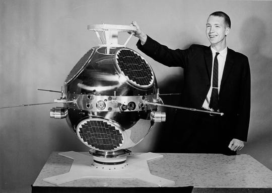 Don Gurnett was project engineer for the Injun 3 spacecraft shown here in 1962. His low-frequency plasma wave instrument was the first flown on a University of Iowa spacecraft.