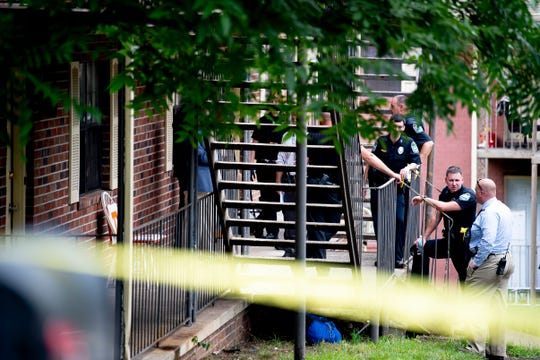 Knoxville Police at the scene of a fatal shooting on the 100 block of Ingersoll Avenue in South Knoxville, Tennessee on Friday, July 12, 2019.