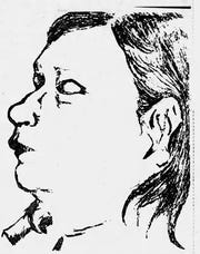 This sketch, based on police photos, of an unidentified woman found killed and stuffed into a cardboard box in a Benton County cornfield was included in a J&C account in 1977, marking the one-year anniversary of the investigation into who the woman was and how she wound up along County Road 200 South, six miles north of Otterbein.