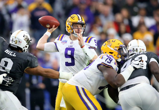 Jan 1, 2019; Glendale, AZ, USA; Louisiana State Tigers quarterback Joe Burrow against the Central Florida Knights in the 2019 Fiesta Bowl at State Farm Stadium. Mandatory Credit: Mark J. Rebilas-USA TODAY Sports
