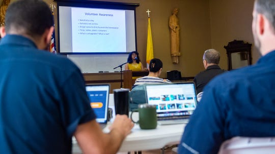 Tamara Chance speaks as Catholic Charities of Acadiana hosts a volunteer muck out training session Friday, July 12, 2019 at St. Mary Magdalen Parish Hall in Abbeville in preparation to respond to potential flooding brought on by Tropical Storm Barry.