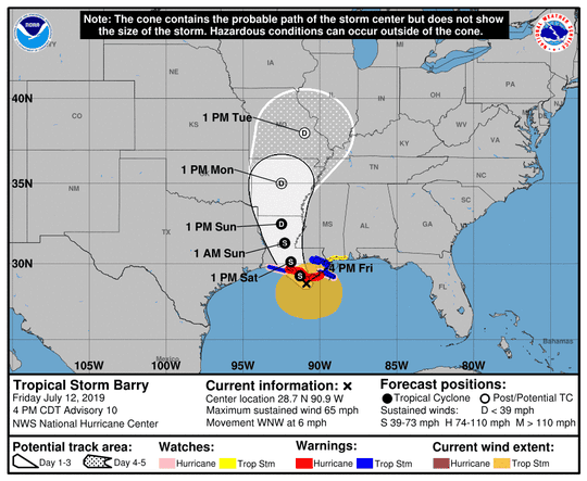 This graphic shows the probable path of Tropical Storm Barry as of 4 p.m. on Friday, July 12, 2019.
