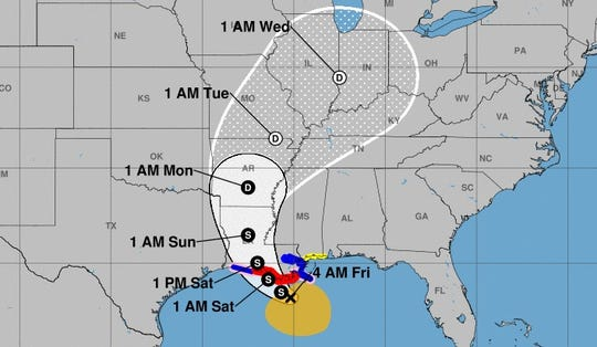 Tropical Storm Barry forecast cone as of 4 a.m. Friday, July 12.