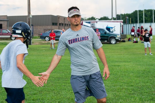 Head Coach Dane Charpentier- Teurlings Football at the Quick Slants All Acadiana 7 on 7 High School Football Tournament.  Thursday, July 11, 2019.