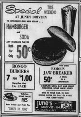June's Drive-In followed Jimmy's Drive-Inn at 531 Lincoln. It was operated by June Boyd from 1956-1966. This ad appeared in the E-G on April 19, 1963.