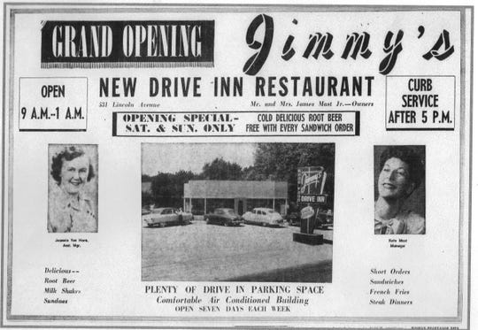 "A full page ad appeared in the Eagle-Gazette on June 5, 1953 featuring this photo of the new Jimmy's Drive-Inn at 531 Lincoln Ave. James ""Jimmy"" Mast, Jr. had designed the building."