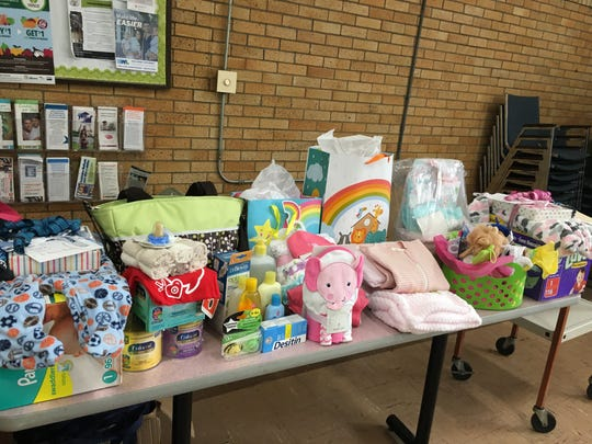 A variety of items from vendors or given away via raffle at the community baby shower in November 2018 and Cristo Rey Community Center