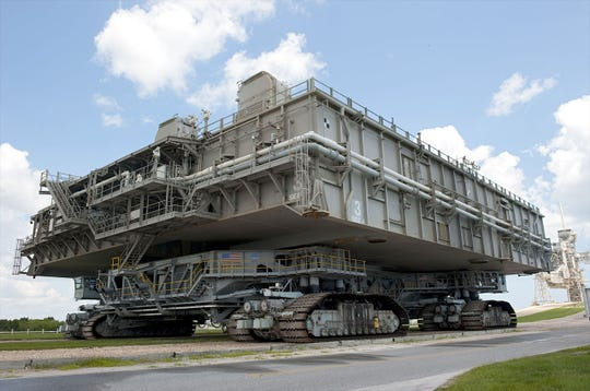 Known as the Missile Crawler Transporter Facilities, these colossal vehicles, of which two were built by the Marion Power Shovel Company in 1965, carried the assembled rockets from the Vehicle Assembly Building to the launch pad at the Kennedy Space Center. They were used to transport the Saturn rockets for the Apollo, Skylab and Apollo-Soyuz programs, and later for the Space Shuttle.