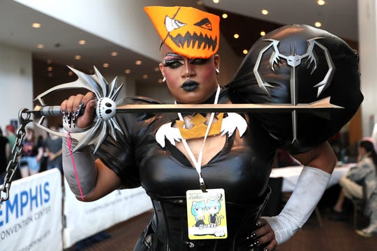 Venus Ann Serena poses in costume at the Anime Blues Con at the Memphis Cook Convention Center downtown on Friday.