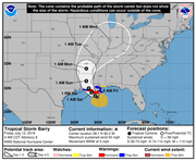 Five-day forecast cone for Tropical Storm Barry.