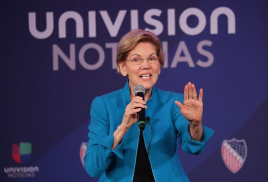 U.S. Sen. Elizabeth Warren speaks during the LULAC national convention town hall.