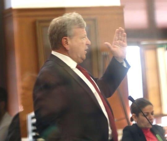 Jordan Fricke's attorney, Michael Chernin, leads him through a series of questions as he testifies.