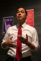 Julián Castro speaks with Milwaukee community members at the Wisconsin Working Families Party office following the Univision-LULAC Presidential Town Hall on Thursday, July 11, 2019.