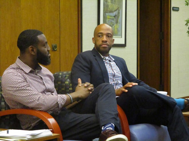 State Rep. David Bowen and Lt. Gov. Mandela Barnes participate in an announcement at the Northwest Side Community Development Center of a $1 million loan pool to help startups and small businesses.
