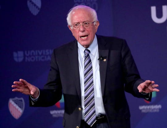U.S. Sen Bernie Sanders of Vermont speaks during the League of United Latin American Citizens (LULAC) national convention town hall at the Wisconsin Center in Milwaukee on Thursday, July 11, 2019. LULAC, the nation's oldest Hispanic civil rights organization, hosted a presidential town hall featuring Democratic presidential candidates as well as other speakers throughout the conference taking place July 10-13. Photo by Mike De Sisti/Milwaukee Journal Sentinel