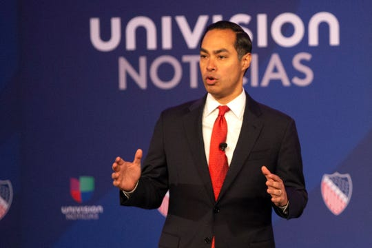 Julian Castro makes his opening remarks during the Univision-LULAC Presidential Town Hall at the Wisconsin Center on Thursday, July 11, 2019.