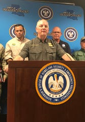 Gov. John Bel Edwards conducts a press conference Friday, July 11, to discuss preparations for Hurricane Barry.