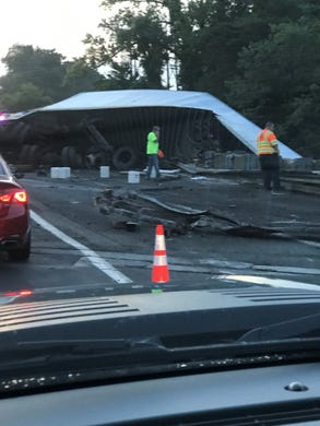 UPDATE: Rt  80 left lane opens, 10 hours after truck accident in Roxbury