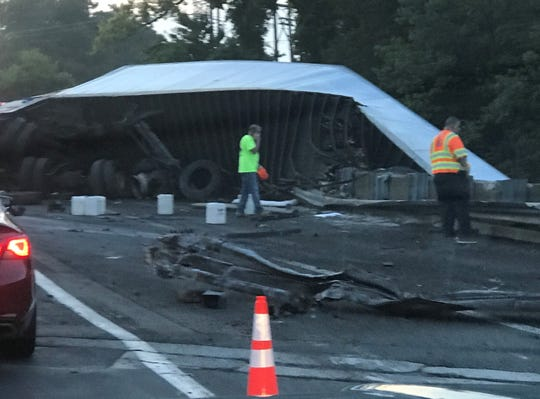 Reader photo of truck crash scene, west of Exit 34, that has closed eastbound Route 80 in Roxbury