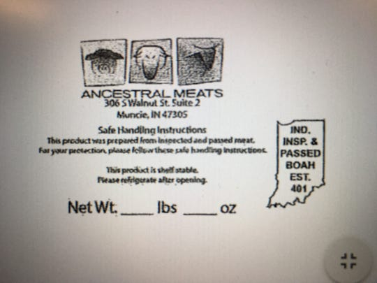The label from recalled cured meat sold at Minnetrista Farmers Market.