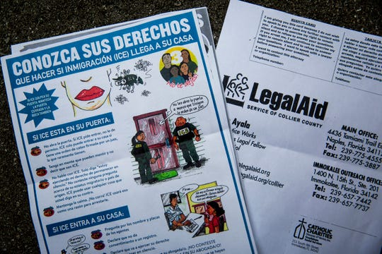 Flyers informing undocumented immigrants of their rights and offering advice on how to deal with ICE agents coming to their homes have been circulated around Immokalee. Social service agencies in Immokalee say that many undocumented immigrants stay inside their homes when there are reports of ICE agents in town, like there were in the early morning on Friday, July 12, 2019.