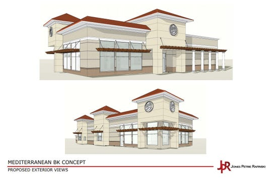 Renderings of the proposed Burger King restaurant off Corkscrew Road and Three Oaks Parkway in Estero.