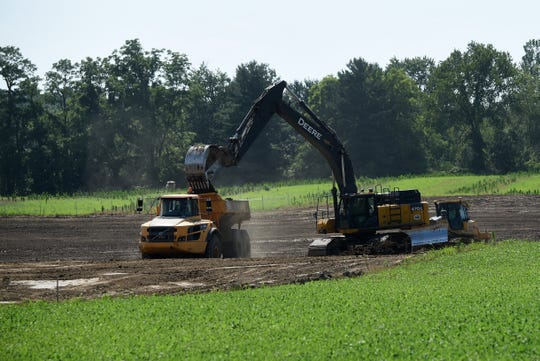 Crews work to prepare land to build a Google data center on the western edge of Licking County, on the northwest corner of the intersection of Beech Road Southwest and Morse Road Southwest.