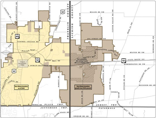 The light color shows New Albany's corporate limits as of 2000. The darker brown shows its growth into 2019.