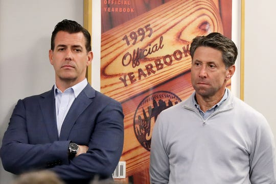 """I think we have to face our reality, to some degree, about where we are in the standings. We are going to be open-minded, we are going to be thoughtful and measured in terms of what we do as we approach the deadline, all with the eyes on trying to improve this club, "" general manager Brodie Van Wagenen, left, said Friday, July 12, 2019 as the team came out of the All-Star break. At right is New York Mets chief operating officer Jeff Wilpon during a press conference in May."