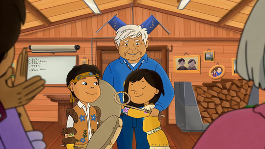 """A scene from the """"Grandpa's Drum"""" episode for """"Molly of Denali."""""""