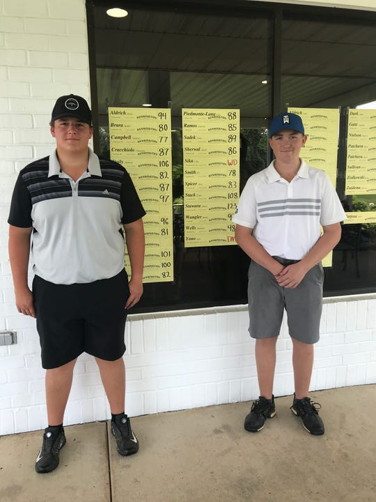 Gabriel Campbell (left) fired a 5-over-par 77 to win the boys' 15-18-year-old division crown, edging out runner-up L.T. Smith (right) by a single stroke.