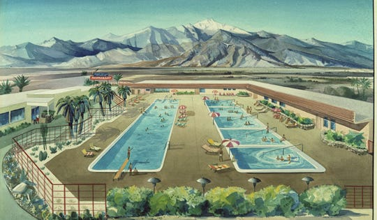 A Desert Highlands Hot Springs rendering created for Babin Realty by artist Val Samuelson.