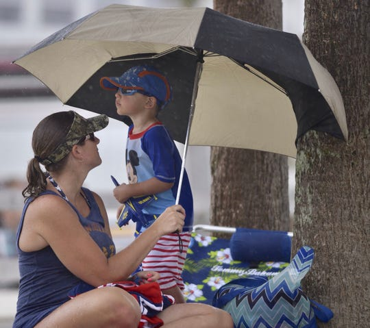 Fans dodge the rain on Pensacola Beach as they wait for the Blue Angels to take the skies on Friday, July 12, 2019.